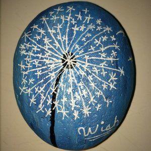 make a WISH blue white Dandelion Painted Rock